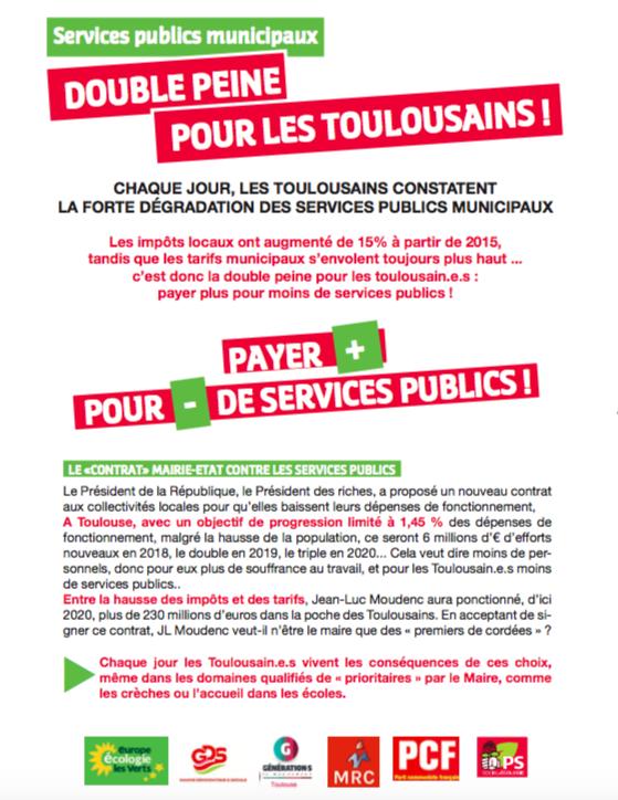 Mobilisation pour la défense les services publics toulousains – mardi 16 octobre 2018